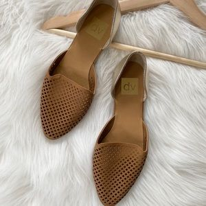 {DV by Dolce Vita} Tan and Gold Pointy Flats